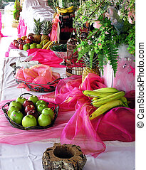 reception buffet with fruits and decoration
