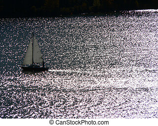Coming Home - Sailboat on Glenmore Reservoir, Calgary,...