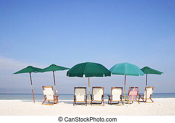 Beach Umbrella Group - Group of umbrellas and sunbeds on the...