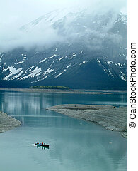 spring canoeing - Canoeing in Peter Lougheed Provincial...