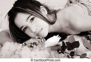 Sepia beauty - Asian girl with a rose