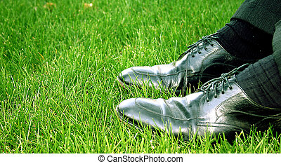 business shoes - Business shoes- in the grass