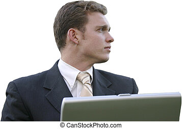 business thinker - businessman looking right
