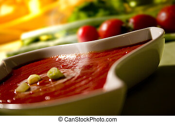 tomato soup - bowl of tomato soup with celery