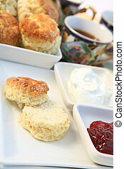 Cream tea 3 - Traditional British cream tea with scones,...