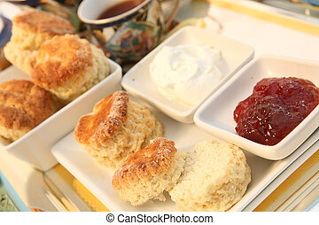 Cream tea 4 - A traditional British cream tea, with scones...
