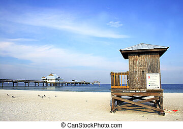 Beach Scene - Beach pier and hut