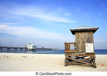 Beach Scene - Beach pier and hut