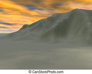 Cool Desert - Desert sand mountain in evening