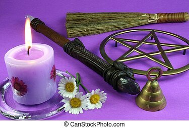Wiccan Tools - Candles, flowers, wand, bell, pentacle and...