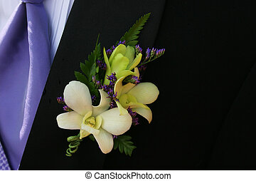 Prom Boutonniere - Yellow and white Prom Boutonniere on a...