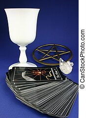 Tarot Deck - Tarot deck with cup, pentacle stand, and...