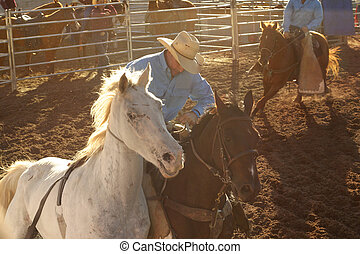 Stockman at a rodeo ride in the dusty dirt