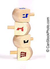 Wooden Dreidels - Stack of Wooden Dreidels