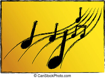 Music Illustration - illustration of musical notes on an...