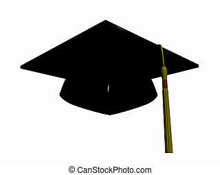 Graduation hat - Graduation hat over white, 3D render...