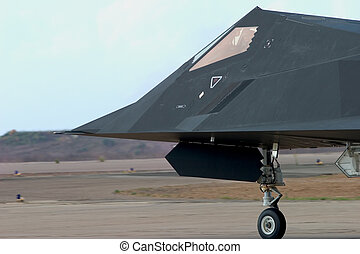 Invisible - An F-117 Nighthawk taxis out to the runway at...