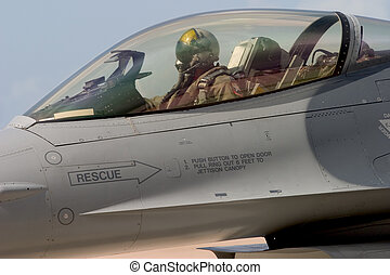 Ready for Take-Off - An F-16 pilot prepares to taxi out to...
