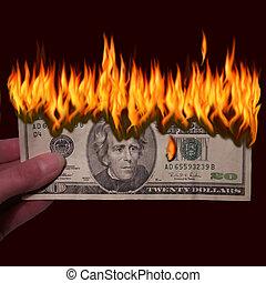 Dinheiro, Para, queimadura