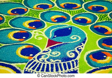 Peacock - India folk art (rangoli) of a peacock using...