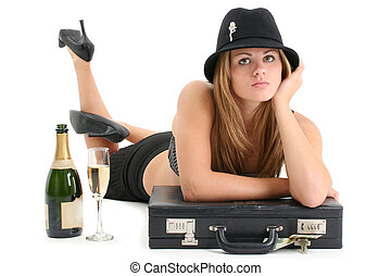 Business Woman Hat - Beautiful young woman in sexy business...