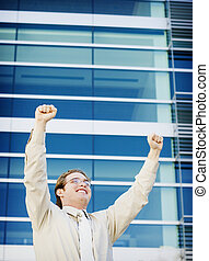 Business success - Business man with a smile on his face for...