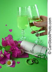 Wedding Toast - wedding rings, marriage certificate and...