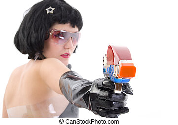 Teen Bounty Hunter - Teen girl dressed in futuristic bounty...