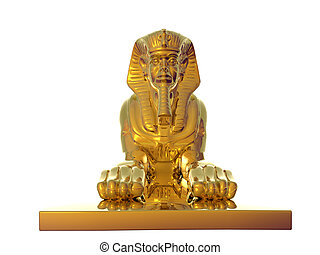 Golden Sphinx - Isolated golden sphinx statue