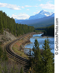 Mountain Track - Railroad track through the Canadian Rocky...