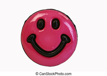 Pink Smiley Face - Hot pink smiley face button, white...
