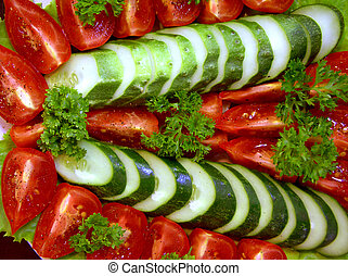 Vegetable salad 1 - of tomatoes, cucumbers and parsley