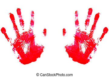 Red Handprints - Red handprints on white