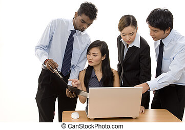 Business Team 3 - A diverse business team of four...