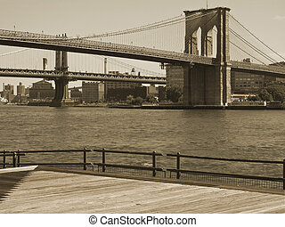Brooklyn Bridge Duo - This is a sepia toned shot of the...