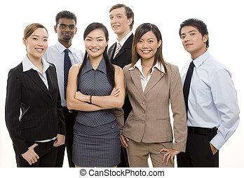 feliz, empresa / negocio, equipo