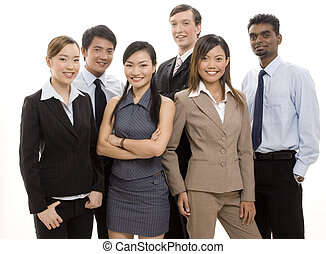 Happy Business Team 2 - A group of six business people make...
