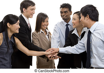 Team Success 2 - A diverse business team celebrate their...