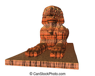 Sphinx, Standstone - Sandstone sphinx isolated