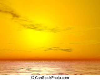 Yellow Sunrise - Yellow sunrise over the sea