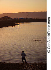Dusk at Fishing Hole - Sunset at the fishing hole on the...