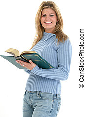 Teen Woman Reading - Beautiful teen girl reading book over...