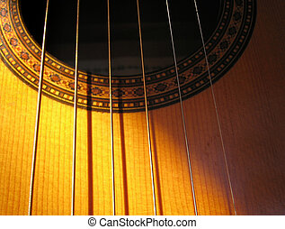 Guitar - Strings - Acoustic guitar with shadow-throwing...