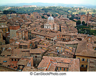 Sienna from clocktower - Aerial view of sienna from the top...