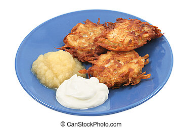 Potato Pancakes Isolated - Potato pancakes latkes for...