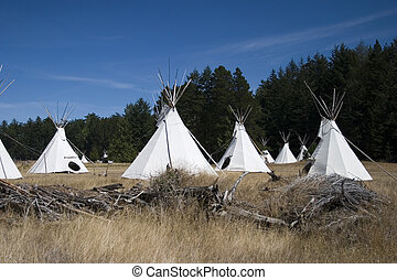 Teepee Village Camp - A teepee village located in a grass...