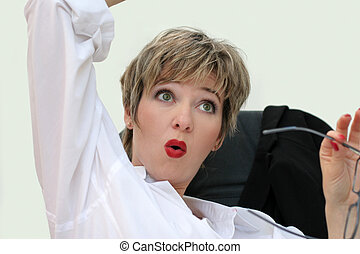 Eureka! - Businesswoman with surprised expression