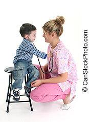 Toddler, Boy, Listening, To, Nurse's, Heart