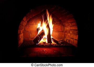 Fireplace - night shot of a hot fireplace