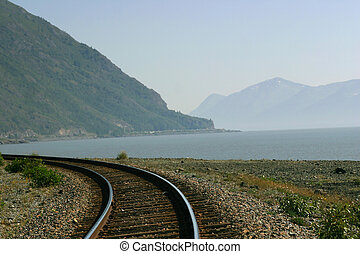Alaskan Rails - Railroad curves gently along Turnagain Arm...